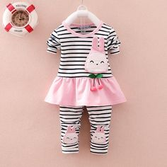 312cb8e7cea5 BibiCola 2016 Infant clothes toddler children spring baby girls clothing  sets cartoon 2pcs stripe clothes sets