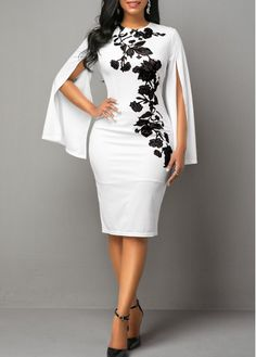 Women'S White Back Slit Cape Sleeve Sheath Cocktail Party Dress Floral Printed Round Neck Midi Dress By Rosewe Printed Cape Sleeve Back Slit Sheath African Wear Dresses, Latest African Fashion Dresses, African Attire, Women's Fashion Dresses, Dress Outfits, Fashion Clothes, Elegant Dresses, Sexy Dresses, Sheath Dresses
