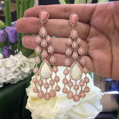 Coral and opal Chandeliers ✨✨✨ #jewelleryarabia2014