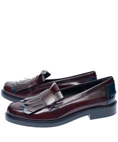 Tod's Burgundy Bicolour Cuoio Pesante Fringed Leather Loafers | Women's Shoes | Liberty.co.uk