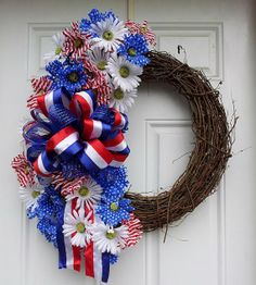 Red White & Blue Patriotic Floral Grapevine Wreath by dottiedot05, $55.00