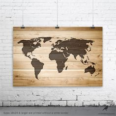Rustic Wood Large World Map Poster, Wood Wall Art Print, Gifts for Him, World Map Art, Rustic Home Decor, Cabin Decor, Nursery Decor