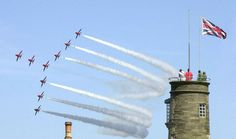 File:US Navy The British Royal Air Force aerial demonstration team, the Red Arrows, conduct a fly-by during the World War II celebrations. Uk Destinations, Red Arrow, Royal Air Force, Air Show, Us Navy, British Royals, Great Britain, Cn Tower, World War Ii