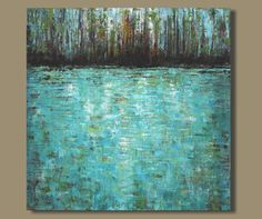 abstract painting, lily pond, abstract pond, landscape painting, expressionist, forest, palette knife texture (30x30) Woodland Pond
