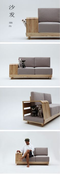 "I could find a nice spot in my flat for this sofa. /// ""The Dog House Sofa"" by Korean designer Seungji Mun Pet Furniture, Modern Furniture, Furniture Design, Modern Sofa, Sofa Design, Interior Design, House Design, Home Decor, Couches"