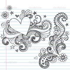 Cute Doodles To Draw | Hand-Drawn Sketchy Heart and Swirls Doodles Design Elements with ...