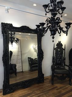 NYC FLOOR MODEL | Baroque Ornate Carved Mirror - Black