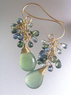 Wind through the Trees...Serpentine Blue Green Sapphire Signature Original Gold Filled Tassel Earrings...smallish