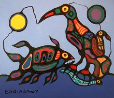 """Norval Morrisseau """"Water Thunderbird and Fish"""", 1979, acrylic on canvas"""