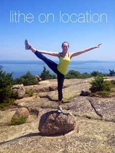 #LitheonLocation: Look at Lither Christina Dollings rockin' a perfect heel stretch on a big rock while hiking in Acadia National Park in Maine on July 4th!