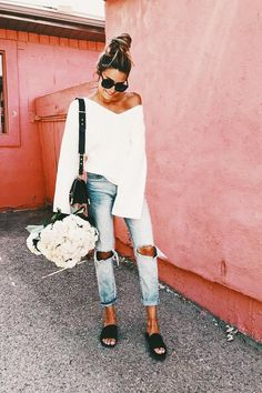 Off the shoulder, slides + distressed denim.