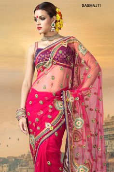 $141 Luscious Haute Pink Embroidered Net Saree From Cbazaar