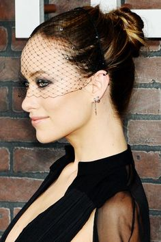 """11 Non-Lame Updos To Copy Now #refinery29  http://www.refinery29.com/updo-hairstyles#slide-4  A Twisted Chignon For the premiere of Vinyl, her new show about '70s rock and roll, actress Olivia Wilde channeled Bianca Jagger, who donned an edgy veil more than once in her Studio 54 days — but other than her veil (It's Jennifer Behr by the way.), Olivia's hair was quite modern. """"In the '70s, hair could look overly polished, we wanted a..."""