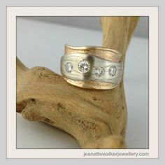 Eco Wedding Band made reusing client's old gold and diamonds from her original engagement and wedding ring set.