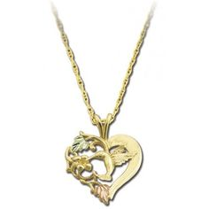 Hummingbird and Heart BHG Pendant10k solid yellow gold12k Black Hills Gold rose and green leavesComplimentary 18 inch Gold filled chainMade in USA