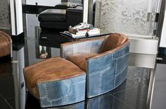 Keith Melton's Mansion, Boca Raton, FL Vintage Aviator Chairs - this would be awesome in a man cave (Restoration Hardware)Vintage Aviator Chairs - this would be awesome in a man cave (Restoration Hardware) Aviation Furniture, Aviation Decor, Home Design, Interior Design, Design Design, Unique Furniture, Furniture Design, Vintage Industrial Decor, Industrial Interiors