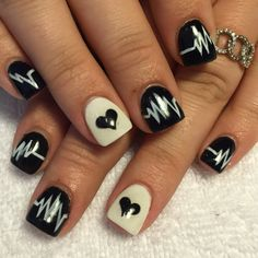 Valentines Day heart nails black and white gel