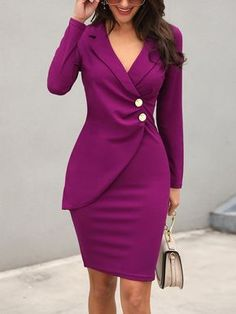 Sexy V-neck Bodycon Blazer Dress Women Long Sleeve Elegant Midi Dress Office Lady Casual Work Blazer Dress 2019 - adsfay Fall Dresses, Dresses For Work, Office Dresses For Women, Dresses Dresses, Dress Outfits, Elegant Midi Dresses, Casual Dresses, Cheap Dresses, Event Dresses
