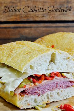 Italian Ciabatta Sandwich   This sandwich is piled high with meat, cheese and marinated vegetables!  Perfect for game day, a picnic, or a busy weekend lunch.