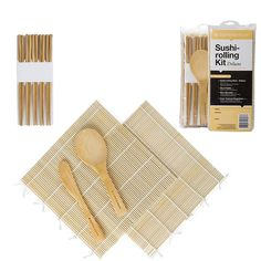 Sushi Makers Rolling & Serving Set Sushi Rolling Mat, Sushi Maker, Bamboo Construction, Twist Styles, Pattern Cutting, Natural Wood, Rolls, Cool Stuff, Kitchen