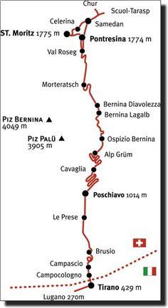 Bernina Express route Europe Train Travel, Italy Travel, Italy Trip, Piz Bernina, Bernina Express, Zurich, Italy Holidays, Chur, Train Journey