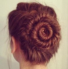 French Fishtail updo and pretty auburn hair :)