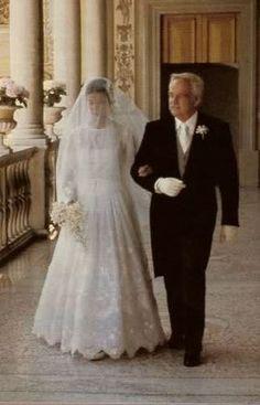 Caroline of Monaco in Marc Bohan for Dior at her 1st wedding