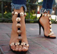 Gold Stud High Heel Sandals Cut-out T-bar Strap Sandals 2018 Fashion Summer Dress Shoes Big Size 10 Spring Dress Shoes Stilettos, Pumps Heels, Stiletto Heels, Crazy Shoes, Me Too Shoes, High Heels Outfit, Sandals Outfit, Shoes Sandals, Shoes Sneakers