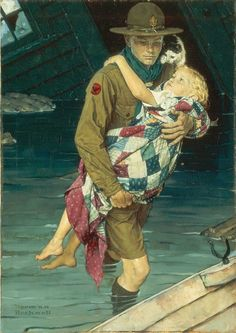 """Norman Rockwell -""""Boy Scout Rescue"""""""