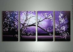handpainted 4 piece purple modern decorative oil painting on canvas wall art cherry blossom pictures for home decoration D/158 MovingMovie http://www.amazon.com/dp/B00RKYV04Y/ref=cm_sw_r_pi_dp_hI7Rvb10A1Y8A
