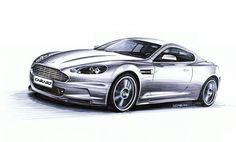 Aston Martin DBS Markers 50x35cm 2011y  Nikodem Sabak