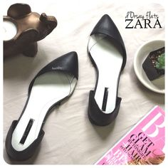 ZARA d'Orsay flats PRELOVED in good condition, worn just a few times. minor wear and tear- light scratch to the plastic on left shoe, does not show in photograph since it's barely noticeable. super comfortable and looks great with just about anything!  size- 5  due to lighting- color of actual item may vary from photos.  please don't hesitate to ask questions. happy POSHing    i do not trade or take any transactions off poshmark, so please do not ask. Zara Shoes Flats & Loafers