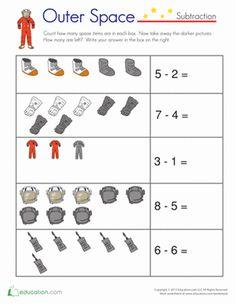 kindergarten math worksheets | Kindergarten Subtraction Worksheets: Astronaut Math
