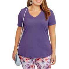 Plus Size Faded Glory Women's Plus V-Neck Tee, Size: 1XL, Purple