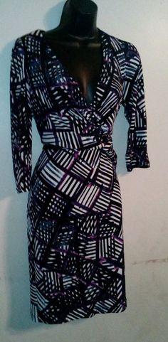 donna morgan purple multi-color faux wrap 3/4 sleeve dress 6 #DonnaMorgan…