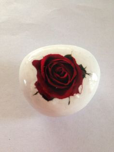 Red and White Rose Decorated River Rock on Etsy, $7.00