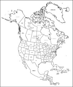 Printable Outline of North America