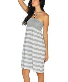 White beaded stripe dress