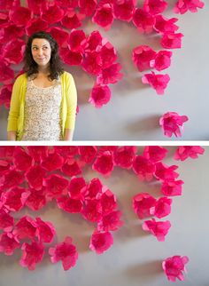 tissue paper wall flower backdrop - Google Search