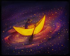 --- Rowing through the boundless night sky [Graphite on inch sketchbook + Photoshop colors & edits.] Originally I wanted to title it sky sailing, but there weren't any sails. Aesthetic Art, Aesthetic Anime, Animation, Art Folder, Visionary Art, Moon Art, Fantasy Artwork, Art Sketchbook, Art Inspo