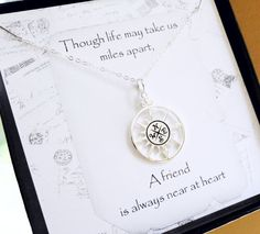 Hey, I found this really awesome Etsy listing at http://www.etsy.com/listing/157878769/silver-compass-necklace-friendship-card