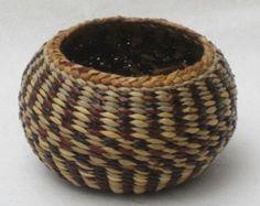 Black Urchin Basket ~~ Hand Woven Natural Color Wild Plant Fibers