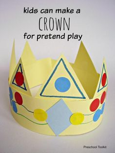 How to Make a Paper Crown for Pretend Play Make a crown for pretend play kids craft- Preschool Toolkit Craft Activities, Preschool Crafts, Fun Crafts, Classroom Activities, Toddler Crafts, Make A Crown, Crown For Kids, Paper Plate Crafts For Kids, Crafts For Kids To Make