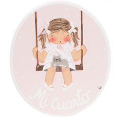 Placa niña columpio rosa - Cuadros artesanales
