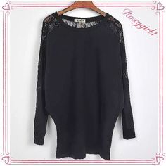 Casual Long Sleeved Black Top with Lace Details Casual Long Sleeved Black Top with Lace Details. New in Package, only removed for photos.  Size: Tag says XXL, but runs Small so I listed as a XL Fabric Type: Cotton Blend Collar: Crew Neck Sleeve Length:Full Rusched Sides ❌NO TRADE OR PP❌ Independent Designer Tops
