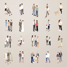 Vector Art : Families - Flat Icons Illustration