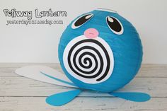 Poliwag Lantern: Great for a Pokemon party Pokemon Themed Party, Pokemon Birthday, Birthday Diy, Birthday Ideas, Pokemon Party Supplies, Pokemon Party Decorations, Pokemon Balloons, Pokemon Pinata, Pokemon Craft