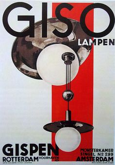 'Giso Lampen' by W. H. Gispen (1890–1981), Rotterdam, Netherlands, 1 9 2 8,  Lithograph, 99 x 71cm.