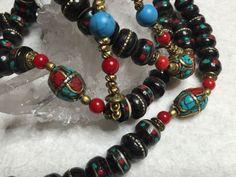 SALE Tibetan Buddhist Mala 108 Prayer Beads Turquoise Coral Brass Inlay Yak Bone