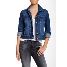 Live a Little Denim Jacket (Petite) ($28) ❤ liked on Polyvore featuring outerwear, jackets, indigo, petite, petite jean jacket, blue jean jacket, cotton jean jacket, petite jackets and long sleeve denim jacket